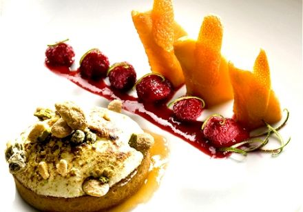 Raspberry Melon Tart with Meringue and Nuts