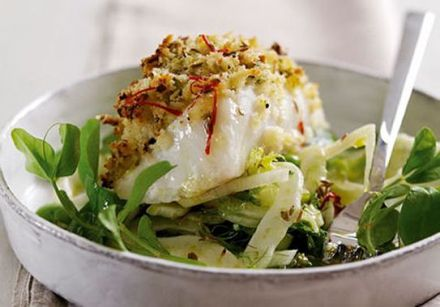 Wild Alaska cod loins with pistachio and lime crust