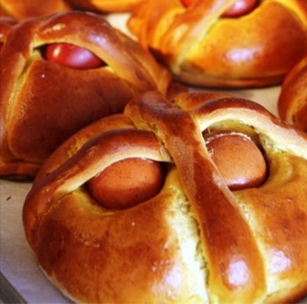 Easter Folar - Folar de pascoa (bread garnished with boiled eggs)