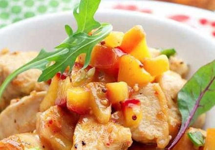 Pan-Roasted Chicken Breast with Yellow Peach Chutney