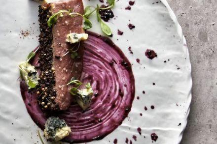 Duck with Coffee, Cocoa, St. Agur and Black Currant