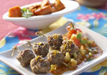 Creole-Style Meatballs with Sweet Potato Fricassee
