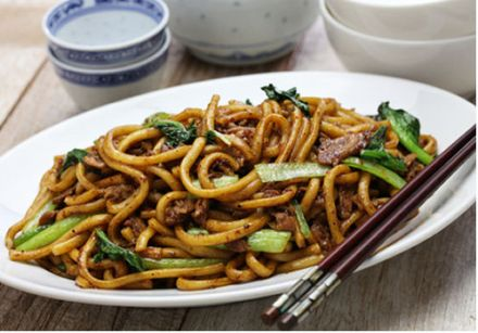 Shanghai Noodles with Grilled Rib Eye and Broccoli