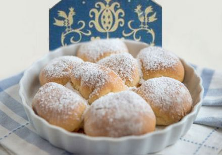 Buchteln, or yeast buns with quark filling