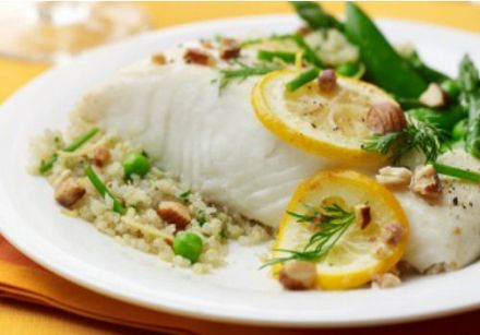 Lemon roasted halibut with quinoa and spring vegetables