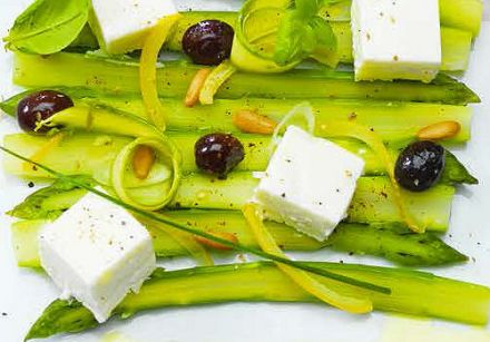 Asparagus, Olives and Lemon with Carré Frais 0% and Herbs