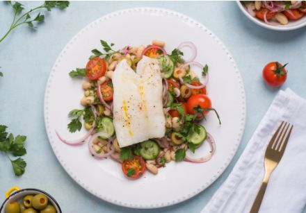 Oven Baked Cod on a Stuffed Manzanilla Olives and White Bean Salad