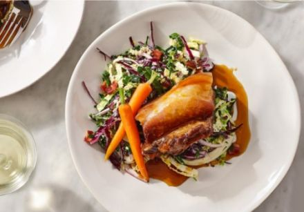 Maple syrup-braised pork belly with maple glazed carrots and maple vinegar coleslaw