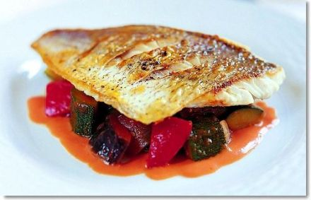 Pan-fried Fillet of Sea Bream with Ratatouille and Tomato Coulis