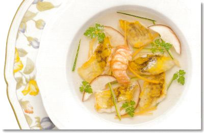 Turbot soup with langoustine