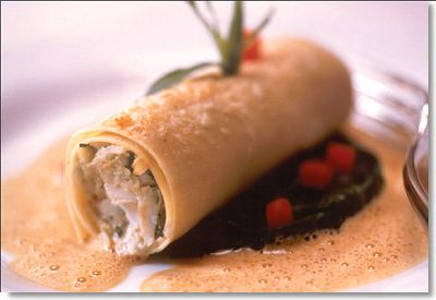 Maryland Crabmeat Cannelloni with Leeks and Saffron Scented Sauce