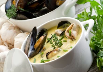 Cream of Mussels with Saffron