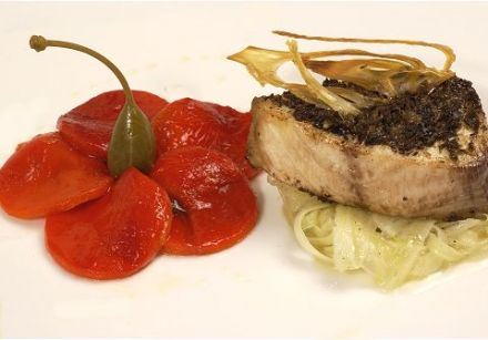 Cobia Steaks with Black Olive and Caper Tapenade