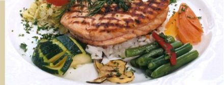 Grilled Salmon Tournedos with Citrus Butter, Basmati Rice and Little Seasonal Vegetables