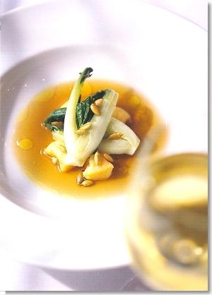 Pumpkin gnocchi with baby bok choy and a mushroom consommé