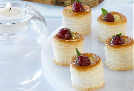Lemon Tarts with Raspberries and Mint