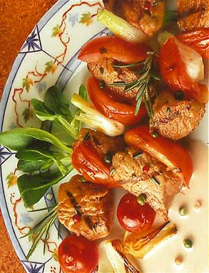 Veal Brochettes with Pink and Green Peppercorns