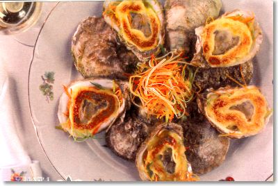 Malpeque Oysters with Gratinéed Sabayon on Julienned Root Vegetables