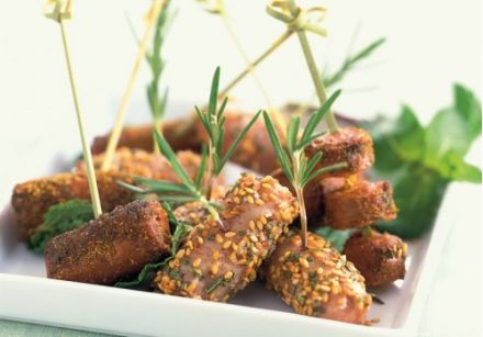 Little Skewers of Chipolatas with Rosemary and Sesame Seeds and Merguez with Eastern Spices