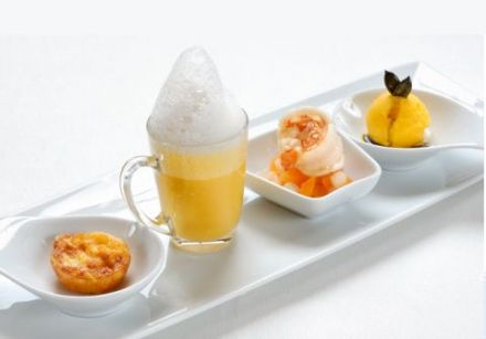 A First Course Quartet: Langoustine on Pear and Pumpkin Compote 1